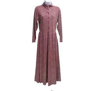 Vtg 80s L.L.Bean Dress Burgundy Floral Midi Med